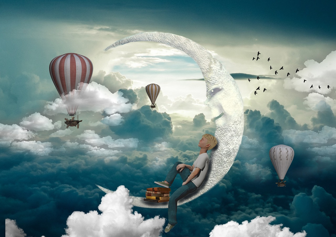 poster of a moon and hot air ballons a figure sits dreaming