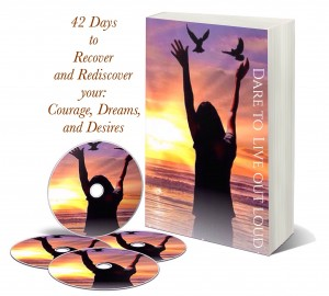 book cover and cd 42 days to recover and rediscover your courage, dreams and desires