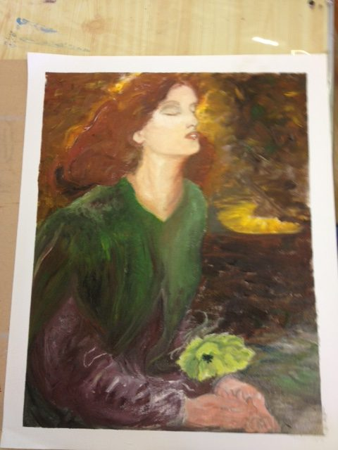 oil painting of a female by Sally Canning